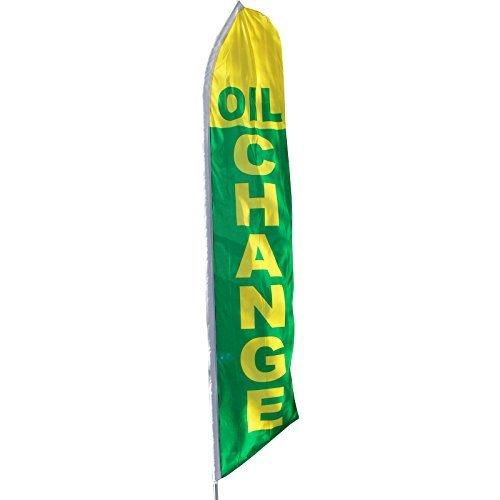 Oil Change Banner Sign Flag Knit Polyester Swooper Feather Flutter 29