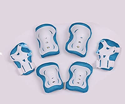 Mini Skater Children/Kid's Cycling Inline & Roller Skating Knee Elbow Wrist Protective Pads in Black (Blue White)