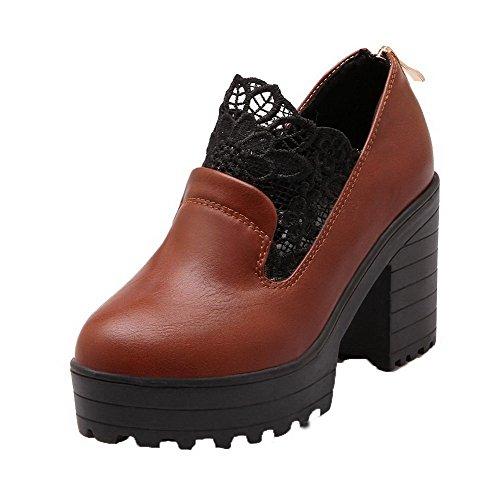Amoonyfashion Womens Hoge Hakken Geborduurde Ritssluiting Pu Ronde-teen Pumps-schoenen Geel