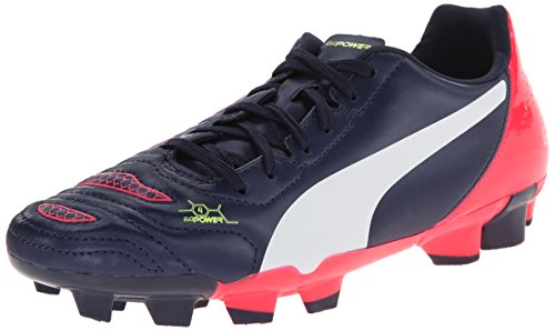PUMA Evopower 4.2 Firm Ground JR Soccer Shoe (Little Kid/Big Kid) , Peacoat/White/Bright Plasma, 5 M US Big Kid