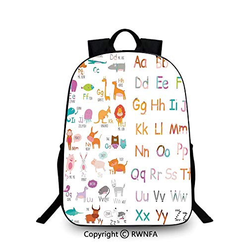 Notebook computer schoolbag,Colorful Alphabet Zoo Letters Learn to Read Mr.Bear Tiger Iguana Monkey Unicorn Ant Print Travel College School Bags