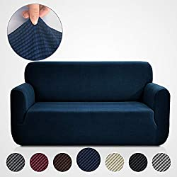 RHF Jacquard-Sofa Slipcover, Stretch Couch Covers for 3 Cushion Couch-Couch Covers for Sofa-Sofa Covers for Living Room,Couch Covers for Dogs, Sofa Slipcover,couch slipcover(Sofa: Navy)