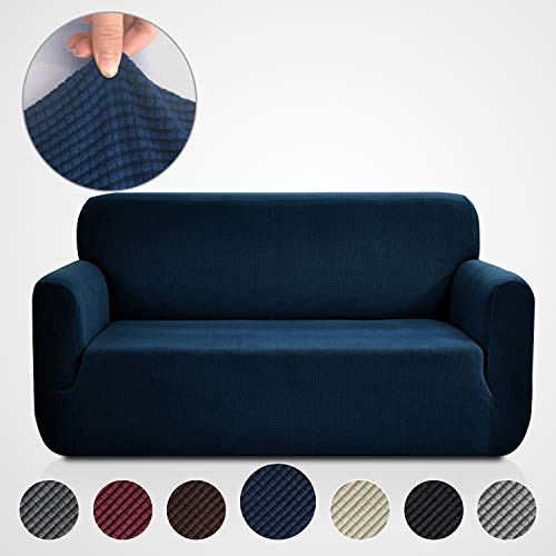 Rose Home Fashion RHF Jacquard-Stretch Sofa Cover, Slipcover for Leather Couch-Polyester Spandex Sofa Slipcover&Couch Cover for Dogs, 1-Piece Sofa Protector(Sofa: Navy)