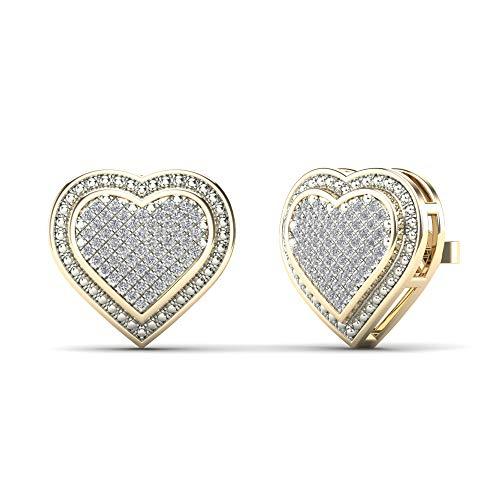 JewelAngel Women's 14K Yellow Gold Diamond 1/4ct TDW Heart Cluster Stud Earrings (H-I, I1-I2) ()