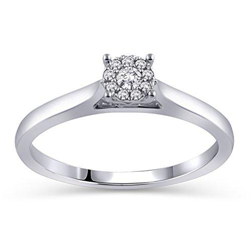 Amazon CollectionSolitaire Promesa Anillo de la amistad de diamantes, Tamaño 7