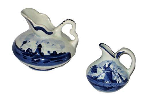 Delft Vintage Blue Holland Windmill Scene Floral Pattern Miniature Porcelain Pitchers Ewer 3x3 Inch & 2 1/2 x 2 1/2 (Miniature Pottery Vase)
