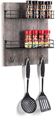 MyGift Wall-Mounted Rustic Torched Wood 2-Tier Spice Rack with 3 Utensil Hooks