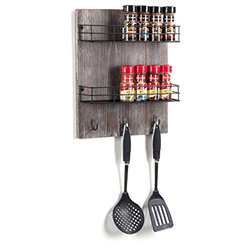 MyGift Wall-Mounted Rustic Torched Wood Spice Rack with 3 Utensil Hooks by MyGift (Image #1)'