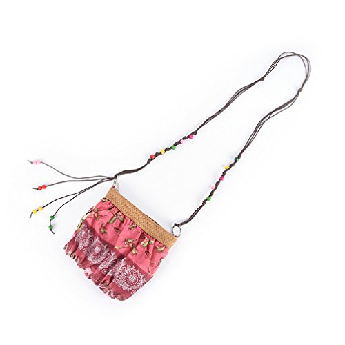 Amuele Beach Crossbody Weave Cloth Bohemia Red Straw Strap 5Colors Messenger Bag Handbag Boho 0rwRnTW0