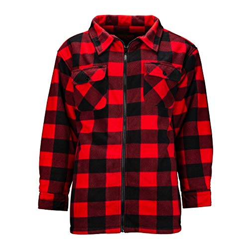 - TrailCrest Men's Heavy Fleece Sherpa Lined Shirt Jacket-Warm Full Zip Outdoorsman Buffalo Plaid