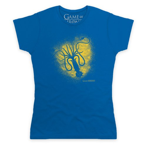 Official Game of Thrones - Greyjoy Sigil Spray Camiseta, Para mujer Azul real