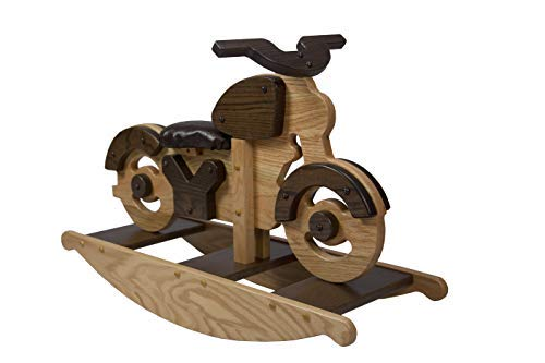 Furniture Baby Rockabye (Lancaster's Best Wooden Motorcycle Rocking Horse, Amish Furniture Motorcycle Rocker Toy for Baby, Toddler, Childrens Rockers Solid Oak)