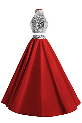 7dcce7cfb035 MsJune Women Two Piece Prom Dress Beaded Long Party Gowns Evening Dresses  Red 10
