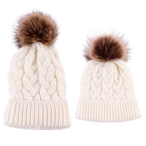 Mother /& Baby Winter Warm Knit Hat Family Crochet Fur Ball Beanie Cap 2PCS//set