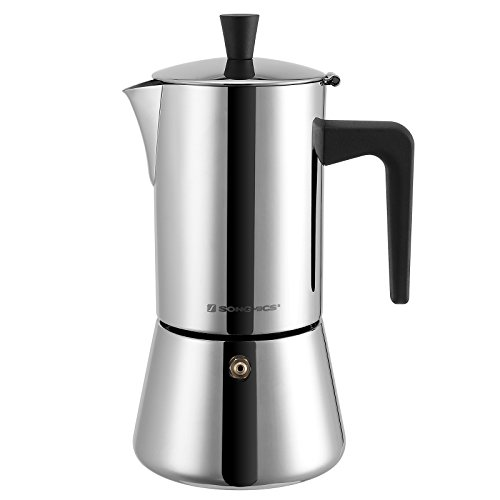 Find Bargain SONGMICS 6-Cup Stovetop Espresso Coffee Maker Moka Pot with Patented Valve, 18/8 Stainl...