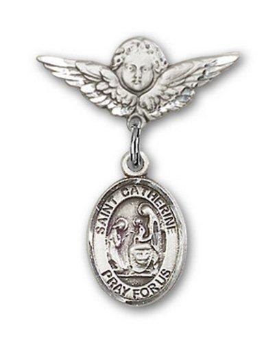Icecarats Créatrice De Bijoux En Argent Sterling St. Catherine De Sienne Broches Badge Charme D'Ange 7/8 X 3/4