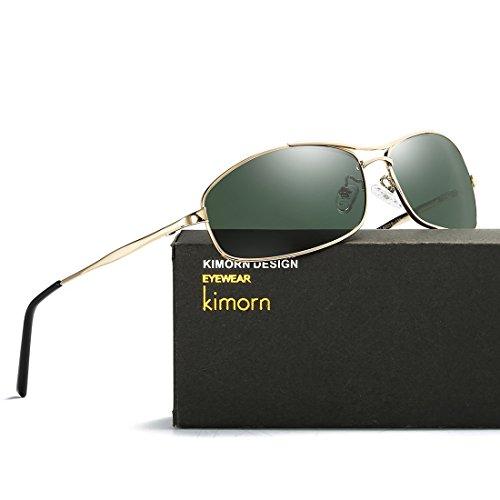kimorn metal Marco Retro amp;G15 K0559 Ultra Polarizado ligero Hombre Gafas Oro sol Rectangulares de rrxqBC