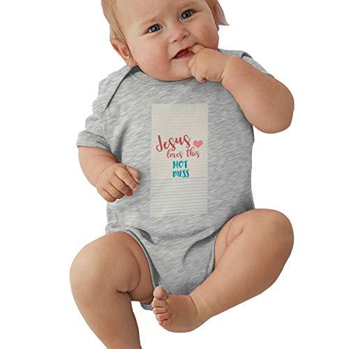 Jesus Love This Hot Mess Godly Funny Christian, Jesus Always Devotional,Jesus Christ Superstar Gray Baby Short Sleeve Crawler 2T