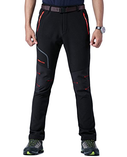 KING Shield Men's Mountain Fleece Windproof Ski Pants (4XL/US 36,Black) - Shield Fleece Pant