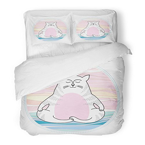 SanChic Duvet Cover Set Pink Stretching Funny Cat in Meditation Series Comic Animal Asana Decorative Bedding Set Pillow Sham Twin Size by SanChic