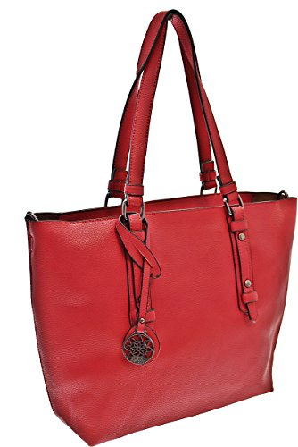 Bag in Bag XXL-TASCHE Raumwunder die perfekte City Damen-Umhängetasche Schulter Tasche Messenger Bag Neu weiblich lässige Tasche Henkeltasche Beuteltasche Tragetasche modisch (Brown) Red