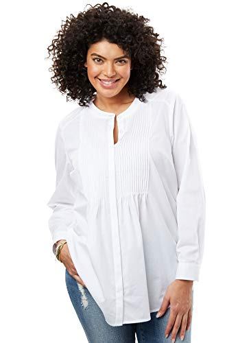 (Woman Within Women's Plus Size Perfect Pintucked Shirt - White, M)