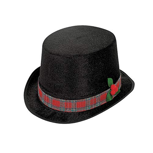 (Polyester Christmas Caroler Top Hat, One Size, Black (2)