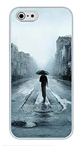 5S Cases, iPhone 5S Protective Case - Rainy Street Noire Illustration High Quality PC Plastic Slim Lightweight Hard Case Cover for iPhone 5/5s White