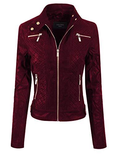 Design by Olivia Women's Elegant Faux Suede Zip Up Moto Biker Jacket Wine L ()