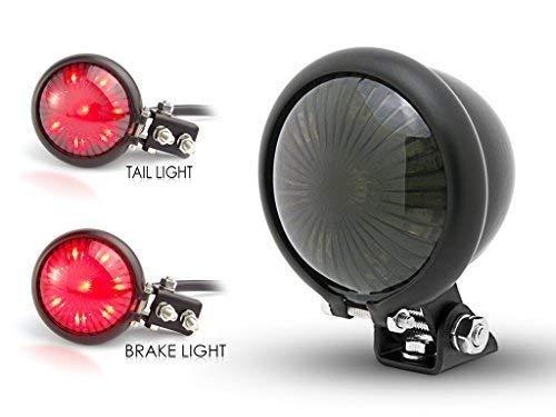 Faro Posteriore Moto (Freno e Posizione) LED Nero Opaco Vintage Custom Alchemy Parts Ltd
