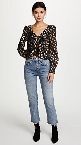 For Love & Lemons Women's Lottie Tie Front Blouse, Gold Dot, Medium by For Love & Lemons (Image #5)