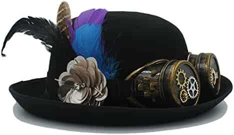 bdbaa5b6da62d Women Men Black Handwork Steampunk Bowler Hat for Cosplay Fedora Party Caps  with Punk Gear Glasses