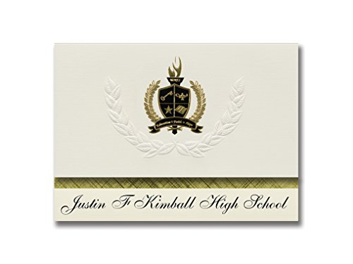 Signature Announcements Justin F Kimball High School (Dallas, TX) Graduation Announcements, Pack of 25 with Gold & Black Metallic Foil seal, 6.25