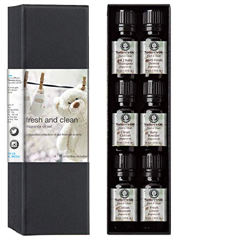 - Fragrance Oil Fresh & Clean Gift Set, 10 ml Cotton Blossom, Fresh Linen, Baby Powder, Clean Cotton, April Fresh Shampoo