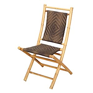 Heather Ann Creations Bamboo Folding Chairs with Diamond Weave, Pack of 2, Natural and Dark/Light Brown