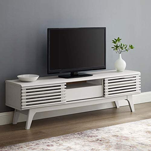 Modway Render Mid-Century Modern Low Profile 59 Inch TV Stand in Walnut