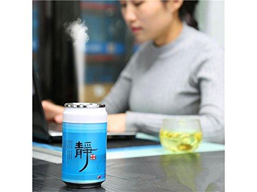 Zhisan Warm Portable Oil Diffuser Humidifier Cans USB Humidifier Mute Household Desktop Purifying Air Ultrasonic Humidifier(Blue)
