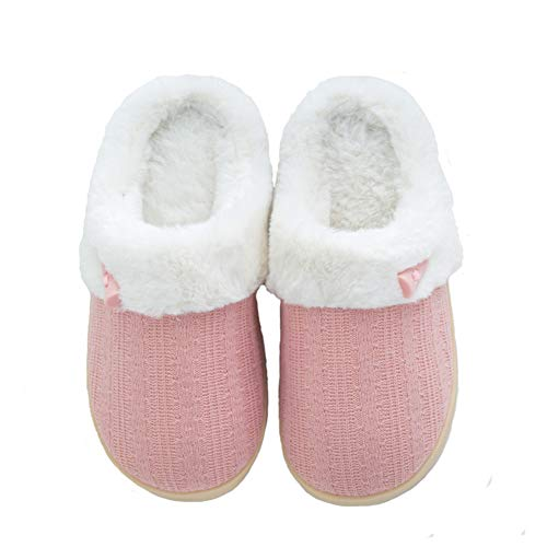 Mens Womens House Knitted Cotton Plush Slippers Skid for Indoor and Outdoor Use
