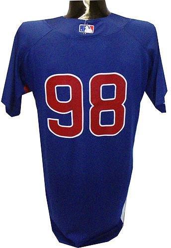 Edgar Tovar #98 2010 Chicago Cubs Game Used Blue Cool Base Batting Practice Jersey (44) - Steiner Sports Certified