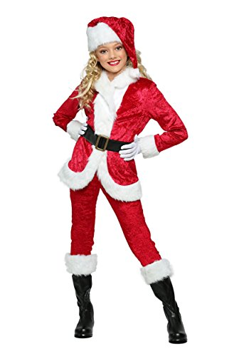 Father Christmas Costume Girl, Child Kids Cute Halloween Santa Claus Cosplay Outfit S-XL (M)