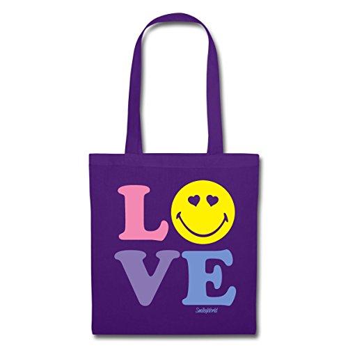 Spreadshirt Smiley World Love Liebe Herzchenaugen Smiley Stoffbeutel Lila