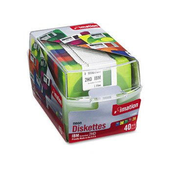 imation® 3.5'' Diskettes, Neon, 40PK, 2HD, 1.44MB by Imation