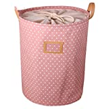 DTGTHDAS Waterproof Laundry Hamper Bag Colorful Clothes Storage Baskets Home Clothes Barrel Kids Toy Storage Laundry Basket Pink