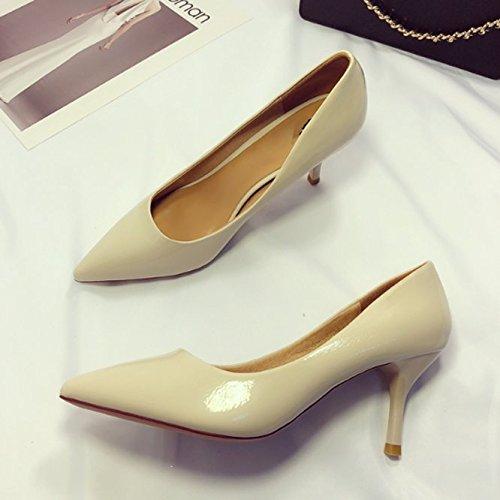 Ajunr Moda/elegante/Transpirable/Sandalias Commuter La Calzado de cuero Boca superficial Ocupación 7cm tacones altos Con una punta fina Los zapatos Blanco ,35 37