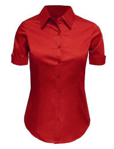 LE3NO Womens Plus Size Tailored Short Sleeve Button Down Shirt with Stretch