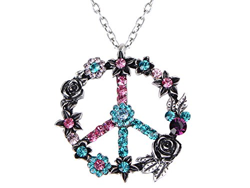 Alilang Silver Tone Retro Pink Blue Flower Crystal Rhinestone Hippie Peace Symbol Pendant Necklace