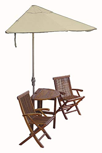 Blue Star Group Terrace Mates Caleo Premium Table Set w/ 9'-Wide OFF-THE-WALL BRELLA - Antique Beige Sunbrella Canopy