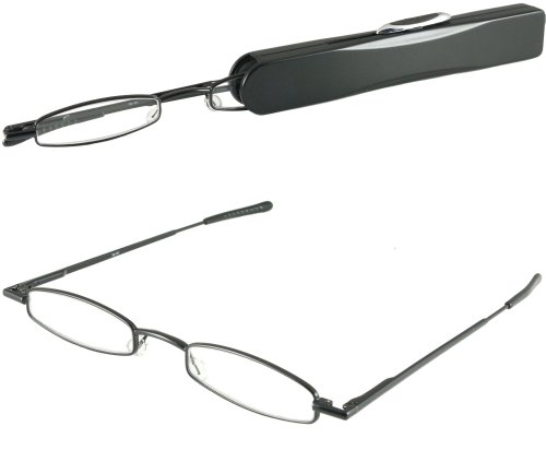 I-Mag Mini Slim Metal Spring Hinge Reading Glasses with Slide Open Hard Case (Black, - Slim Glasses