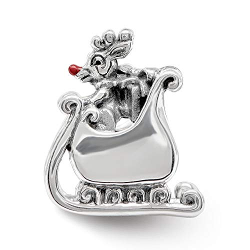 (Lex & Lu Sterling Silver Reflections Enameled Rudolph in Sleigh Bead)