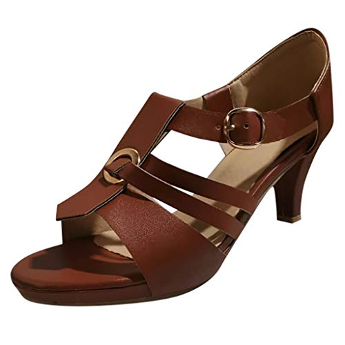 ♡QueenBB♡ Women's Ladies Elegant High Heels Dress Sandals Clog Sandals Open Toe Buckle Strap Roman Shoes]()
